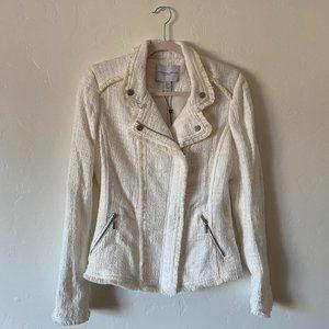 Carolina Belle White Tweed Moto Jacket